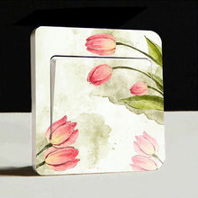 1x Flower Pattern Artistic Switch Cover Wall Stickers Decals Vinyl Art Mural Home Light Decor