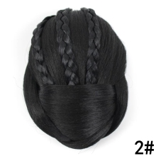 JOY&BEAUTY Black Colors 12cm Long Synthetic Hair Piece Braided Chignon Clip In Hair Bun High Temperature Fiber Donut Hair Roller(China)