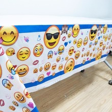 1pcs Cartoon expression theme party tablecloth decorating child boy birthday party party supplies disposable tablecloth favors(China)