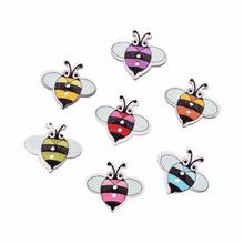 19*17 mm 50Pcs/lot Wood Sewing Button Scrapbooking Cartoon Bees Mixed 2 Holes Diy Decor Accessories Embellishments Crafts