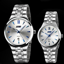 New Top Selling SKMEI Quartz Watch Lovers' Style Casual Watches Female Male Montre Reloj Full Steel Waterproof Wristwatch(China)