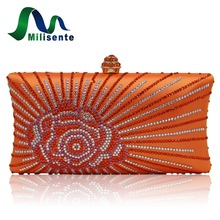 Milisente Fashion Women Clucth Bag Rose Flower Lady Gold Pink Wedding Party Clutch(China)