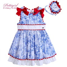 Pettigirl Newest Style Blue Cotton Adorable Baby Girl Dress Red Bowknot Decor Boutique Kid Clothing With Flower Headwear
