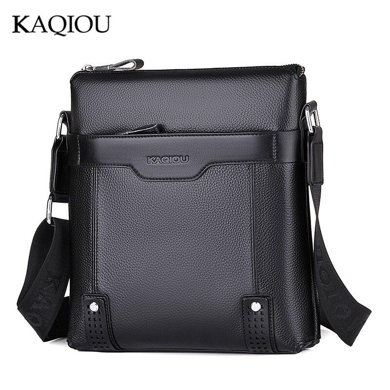KAQIOU 2018 New Men Briefcase Bag Genuine Leather Man Crossbody Shoulder Small Business Bag Messenger  Men Bags Genuine Leather<br>
