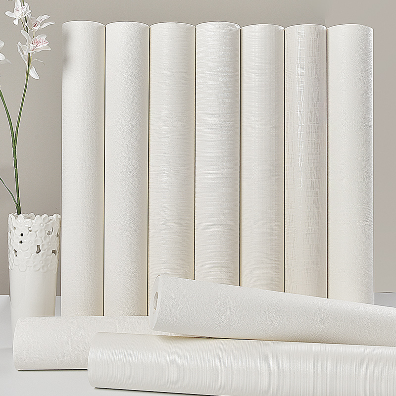 Thick Pure White Pinstripe Waterproof Wallpaper Clothing Store Hotel Bedroom Living Room Covered With Plain Color WallPapers<br>