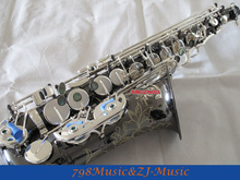 NEW Professional Black Nickel Body and Silver Plated Keys Eb Alto Saxophone High F# With Case