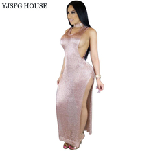 YJSFG HOUSE Elegant Women Bodycon Evening Party Dresses Sexy Summer Slim Split Dress 2017 Ladies Hollow Out Long Maxi Dress Robe