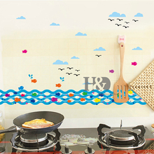 1PCS  Waves Fish for Kids Rooms adesivo de parede decor Wall Art Decals Vintage Transfer  Vinyl Kitchen Wall Sticker Home Decor