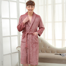 On Sale Men Soft as Silk Flannel Long Bath Robe Male Kimono Bathrobe Lovers Dressing Gown Winter Warm Robes Classic Nightgowns