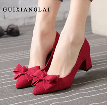 Women Pumps Suede Pointed Toe High Heeled Sheos Bow Nude Pumps Comfortable Square Heel Party Dress OL Shoes For Women High Heels