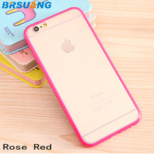 500pcs/lot Hi-Q Candy Color Frame Frosting Mobile Phone Case Back Clear Protection Shell For iPhone 5 5S SE 6 6S Plus 7 7 Plus(China)