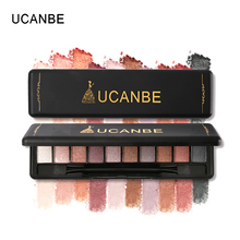 UCANBE Brand 10 Color Shimmer Matte Eyeshadow Makeup Palette Waterproof Pigmented Nude Eyes Shadow Make Up With Brush Cosmetics(China)