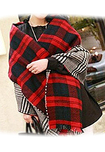 IMC Lady Women's Long Check Plaid Tartan Scarf Wraps Shawl Stole Warm Scarves Red(China)
