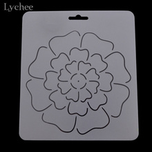 Lychee 1pc DIY Semi Transparent Peony Sunflower Pattern Plastic Quilting Template Quilt Tool For Patchwork Painting Sewing Craft