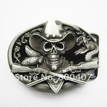 Retail Distribute New Western Rodeo Skull Cowboy Black Enamel Oval Vintage Belt Buckle BUCKLE-SK036BK Free Shipping(China)