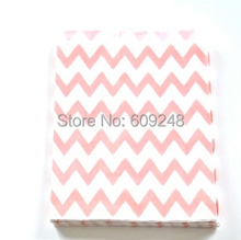 100pcs Mixed Colors Birthday Goodie Gift Favor Buffet Pink Paper Party Candy Treat Bags Thin Chevron(China)