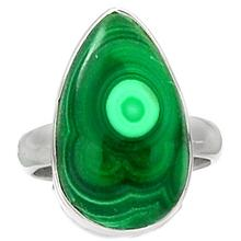 Lovegem Genuine Malachite Ring 925 Sterling Silver,Size :7.5, AR1636