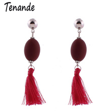 Tenande Bohemian Long Rope Tassels Earrings Ethnic OL Candy Oval Beads Earrings For Women Jewelry Bijoux Brincos Accesssories(China)