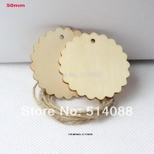 "(50pcs/lot) 50mm Unfinished wood wedding tags wooden label save date message cards string hanging 2""-CT1076"
