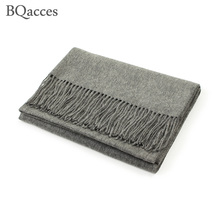 200cm*70cm women solid color plain 100% cashmere scarves with tassel lady winter thick warm scarf luxury high quality shawl wrap(China)