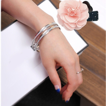 SL021 1 pcs girl fashion frosted silver and gold color alloy Bangles hand ring women