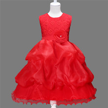 3D Rose Flower Girls Red Dress kids Frocks Princess Party Birthday Wedding Dresses vestidos Clothes For 2 4 6 8 9 Years(China)