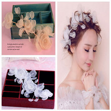 2016 New Hair Jewelry Bridal Flower Headband Silk Lace Flowers Wedding Hair Accessories For Bridesmaid & Bride For Wedding Tiara