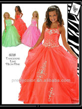 Organza Ruffles Floor Length Spaghetti Strap Beaded Details Overlay Pink Pageant Dresses For Girls Cupcake Dress