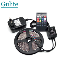 LED Strip Light 5050 RGB 5M 300 LED Flexible Strip Light Set + 20Keys Music IR Controller + 12V 2A Power Adapter