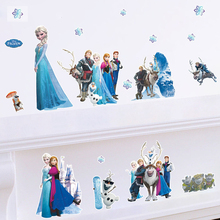 Frozen 3d Wall Stickers Home Decor DIY Princess Queen Aisha Anna Animals Fairy Wall Decals Art Frozen Mural Kids Room Decoration