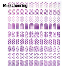 New Fashon 3D Nail Art Stickers Decals,1sheet Purple Metal Mix Design Gel Polish DIY Nail Tips Accessory Decoration Tools