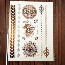 1PC Temp Metal Flash Tattoo Stickers Heart Design Henna Armband Body Art Arm ACT-143 Sexy Women Lace Tattoo Gold Color
