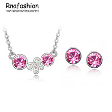 Jewelry Sets Fashion butterfly earrings simple language crystal necklace 133 + 005(China)