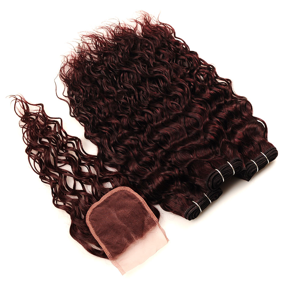 Pinshair Burgundy Brazilian Hair Weave Bundles With Closure Red 4 Pcs Water Wave Human Hair 3 Bundles With Lace Closure Non Remy (156)