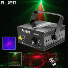 ALIEN RGB Mini 3 Lens 40 Patterns Mixing Laser Projector Effect Stage Remote 3W Blue LED Light Show DJ Disco Party Lighting