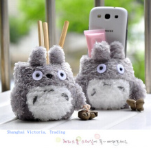 Super Kawaii MY Neighbor TOTORO Plush Cover DOLL ; Phone Stand Holder Pouch Case RACK DOLL & School Desk Pen Toys Holder BOX(China)