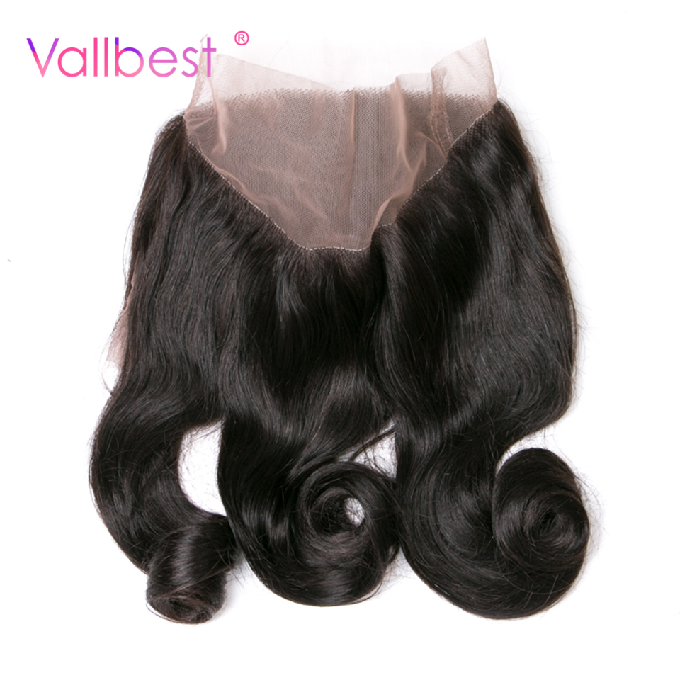 Vallbest Loose Wave 360 Lace Frontal 100% Human Hair Closure Natural Black Hair Free Part Non Remy Hair Can Be Dyed 120% Density
