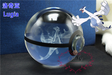New Design Pokemon Crystal Transparent Glass Ball Crtoon Animals Design Inside Action Figures Pokemon Toy for Decorative Gifts