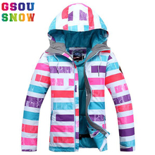 Gsou Snow Winter Outdoor Children's Skiing Jacket Snowboard Coat Kids Sports Mountaineering Clothing Waterproof Girls Ski Jacket(China)