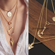 2017 Women Cheap Jewelry New Initial lariat Necklace Gold Multi Layer Necklace Sexy Circular Arrow Angel Wing Pendant Necklace