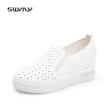 Buy SWYIVY Hollow Platform Women Walking Shoes Breathable 2018 Summer Wedge Comfortable Solid Color Female Causual Shoe Inner Height for $17.66 in AliExpress store