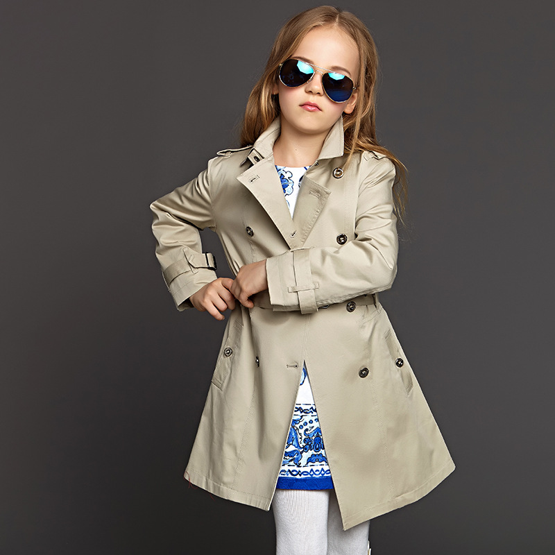 High Quality kids Trench coat  jacket for girls windbreaker Long Style outerwear Belt buckle cloak jacket children clothes<br>