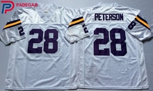 Embroidered Logo Adrian Peterson 28 white purple throwback high school FOOTBALL JERSEY for fans gift cheap 1107-29(China)