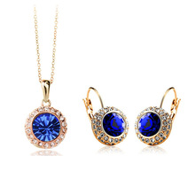 United States    GP Austrian Crystal korean Fashion gem Jewelry Round Moon River  NECKLACE EARRINGS  SET USA Style