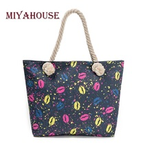 Miyahouse Casual Denim Design Beach Bag Women Lips Printed Tote Handbag Bag Female Large Capacity Handbags Ladies Shopping Bag