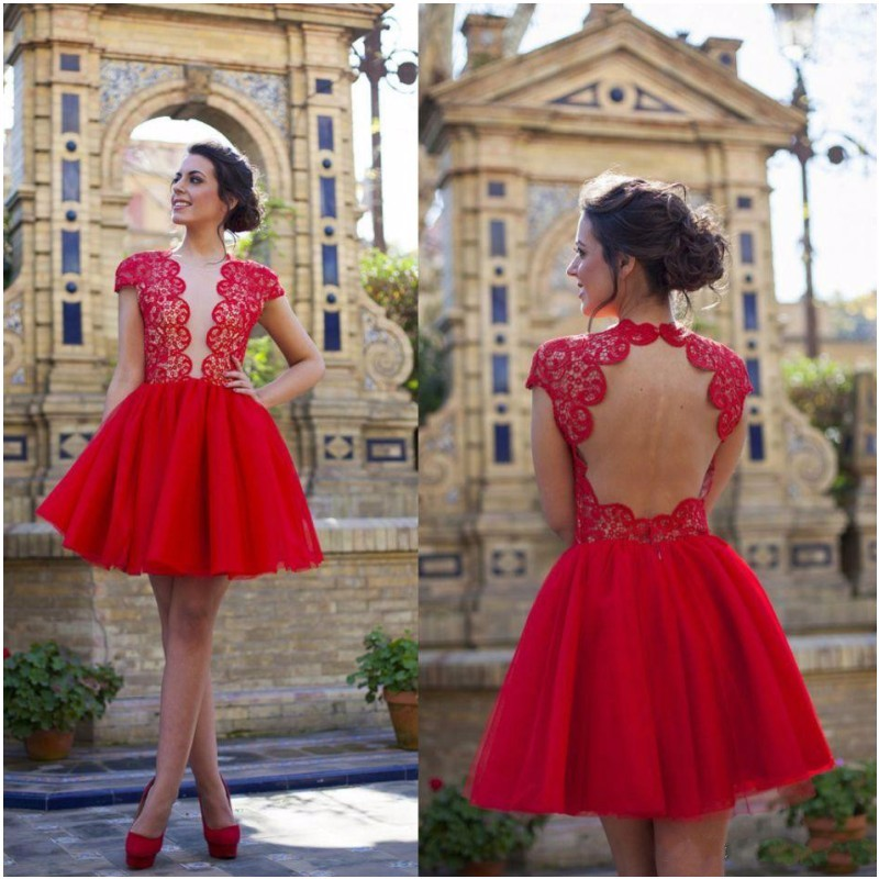 Red Tulle Ball Gown Homecoming Dresses 2019 Scoop Neck Short Sleeves  Appliques Sheer Back Graduation Date 82d1b9faf96d