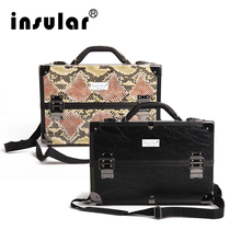 Hot Sales Professional Fashion Aluminum Cosmetic Case Makeup Case Deluxe Black Zebra Pattern Synthetic Leather(China)