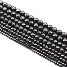 Top quality Stone Black Hematite beads Round Loose bead Stone ball Selectable 4/6/8/10MM For Jewelry bracelet Making