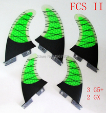Hot Surf Fin FCS II G5 GX set for surfboard, 1Tri G5 set+ 2pcs GX SUP board Half Carbon Glassfiber surfing fins 5pcs/lot