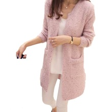 Fashion Women Spring/Autumn Mid Length Sweater Long Sleeve Cardigan Slim Pocket Loose Knit Temperament(China)